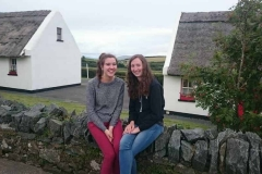 Molly and Eva (who came to Ceol na Mara for their 7th year) relax in Tully Cross village